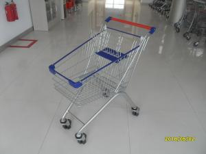 China 80L Supermarket Shopping Carts With 4*4 Inch Casters , Grocery Store Shopping Cart on sale