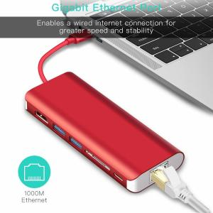 China 2018 hottest amazon USB 3.0 USB 3.1 type C Charging Adapter 4K USB-C hub for Macbook 4K HD Output Port Gigabit Ethernet on sale