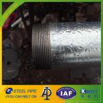 zinc coated 250g galvanized steel pipe threaded with plastic caps