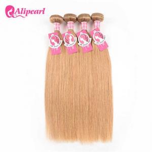China Straight Brazilian Human Hair Weave 4 Bundles #27 Honey Blonde Color on sale