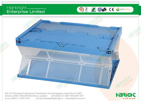 Clear Folding Plastic Boxes Warehouse Storage Container