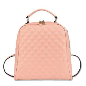 China Wholesale England Style Damier Quilte Ladies Leather Backpack on sale