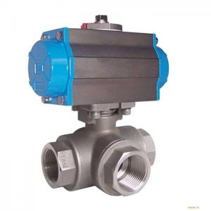 China Silver Actuated Pneumatic Ball Valve Fire Protection Design With Thread on sale