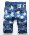Men's foreign trade cowboy shorts locomotive zipper wrinkled men's jeans spandex pants Amazon hot sale jeans.