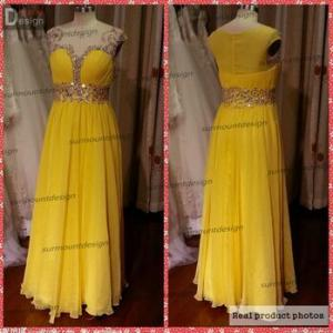 China Real Sample Charming Yellow Chiffon A Line Beaded Long Bridal Dresses For a Price on sale