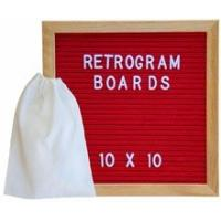 Felt Letter Board Oak Stand Travel Bag Sign with Changeable Messages & Characters for Restaurant, Office or Home