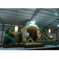 New elephant inflatable combo jumping house zoo animals palm trees inflatable combo house