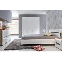 Alkali Resistant 3 Door Mirrored Wardrobe With Khaki High Gloss Bedroom Set