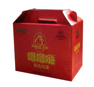 China Red 10 * 6 * 12 Inch Corrugated Cardboard Packaging Boxes With Handle For Eggs on sale