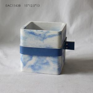 China White , Blue concrete flower pots / Cement Plant Pots With Leather Tape on sale