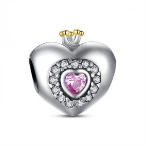 China Purple Romance Sterling Silver Heart Charm , 925 Sterling Silver Charm Beads on sale