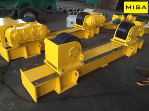 China 50T Yellow Fixed Welding Turning Rolls With Pu Wheels And 2.2kw Motor on sale
