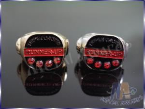 China 2D Or 3D Design Zinc Alloy Ring With Red Stones Environmental Friendly on sale
