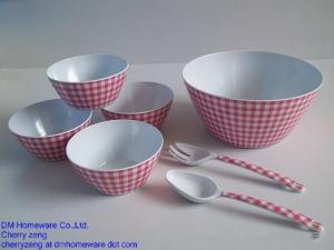 China Reusable plastic salad bowl sets with fork and spoon of 7 pcs on sale