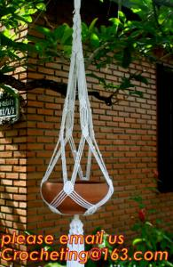 China Wholesale 4 Sets colorful Macrame Plant Hanger Indoor Outdoor Hanging Planter Basket Cotton Rope 4 Legs 40 Inch--Pink on sale