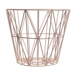 China Brass Large Storage Wire Grid Baskets , Wire Basket Clothes Storage Hamper on sale