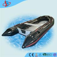 Big Black Motorized PVC Inflatable Boats Waterproof With Aluminum Bottom