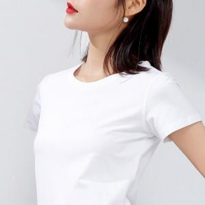 China OEM Design Latest 2018 Crew Neck White Casual Plain Women T-Shirt on sale