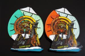 China Die Strucking Or Casting Metal Corsair Logo Lapel Pin Badge Soft Enamel And Black Plating on sale