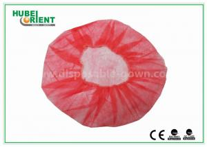 China Eco - Friendly Dental Disposable Hair Caps , Red Operating Room Caps With Polypropylene Materials on sale