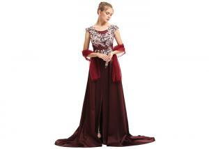 China Purplish Red Wedding Bridesmaid Dresses , Beauty Flower Maxi Prom Dresses on sale