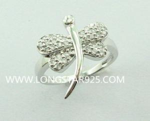 China 925 silver rings wholesale, butterfly jewelry rings dragon fly on sale