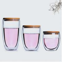 China Fashion concise design Bamboo lid 450 ml double wall glass cup on sale