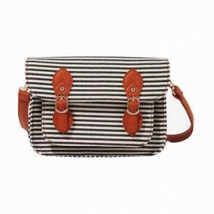 China Ladies Canvas Handbags For Shopping / Girls Stripe Cross-Body Bag With Polyester Inner on sale