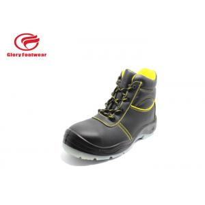 Anti-Skid Comfortable Leather Safety Shoes Breathable Mesh Lining Black /  Yellow