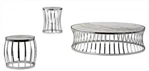 Quality Elegant Marble Sofa Side Tables , Round Metal Marble Top Coffee Table, white for sale