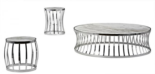 Round Metal Marble Coffee Tables Set, Contemporary Console Tables Images