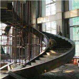 Large Pre Engineering Steel Spiral Staircase Solid I Beam Shock Resistance