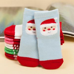 China Hot selling wholesale custom christmas santas terry cosy baby tube socks on sale