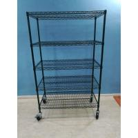 China hot sales good quality carbon steel black color 18*48*72'' NSF Household Light Duty 4 Tiers Chrome Metal Wire Shelving on sale