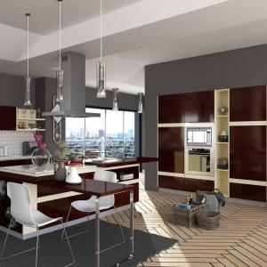 China Villa Project Rosewood Veneer Modular Kitchen Cabinets Artificial Stone Countertop on sale