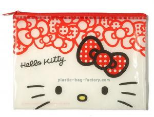 China Hello Kitty Reusable Ziplock Bags Red Vinyl 20*12.5CM For Girls Collecting Money on sale