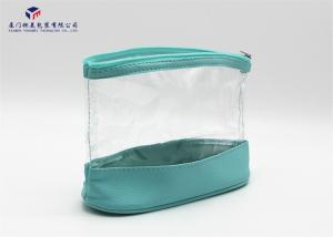 China Bath Set Leather Cosmetic Bag Light Blue Color Zipper With Metal Head on sale