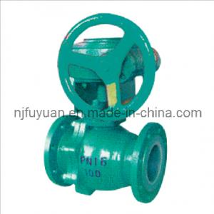 China PFA lined Ball valve(worm wheel driving) supplier