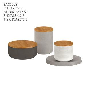 China Wooden Lid Round White Concrete Candle Holder 3 Pcs Eco - Friendly Radiation - Proof on sale