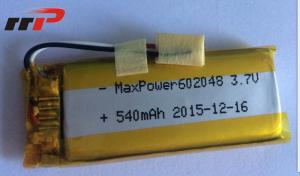 China 540mAh 602048 Lithium Polymer Batteries High temperature UL CE IEC on sale