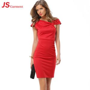 China JS 20 Ladies Office Daily Wear Dresses V Neck Short Sleeve Pure Woman Bodycon Dress 714 on sale