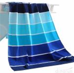 100% Cotton Soft Beach Towel Pool Towel Gradient Blue Striped Towel Bath Towel