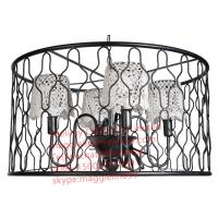 China YL-L1025 Loft retro American industrial engineering black iron chandelier with lace lampshade for Bar Internet cafes on sale