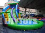 China Outdoor Customized Inflatable Water Slide With A Big Pool Durable / UV-Resistance wholesale