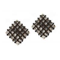 Diamond Earrings Square Crystal Earrings Rhinestone Earrings Bridal Jewelry with Gun Metal Plated E5549