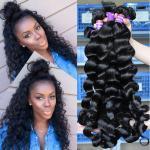 Loose Wave Virgin Indian Human Hair Long Weave No Chemical 1B Grade