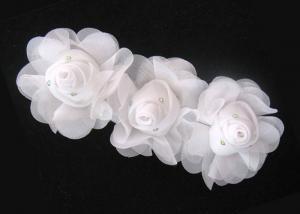China 16cm White Handmade Fabric Flower Corsage With Rhinestone Ornament 120D Chiffon Garment Trimmings on sale