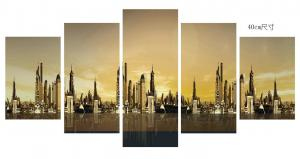 China Home Decoration 6 Panel Canvas Prints Wall Art City Pattern ODM / OEM on sale