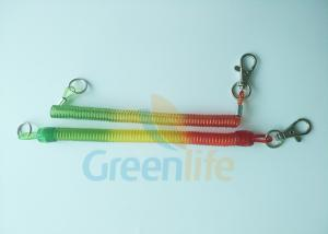 China Custom Coiled Key Lanyard Safe Spring Elastic Cord With Press In Hook & Key Ring on sale