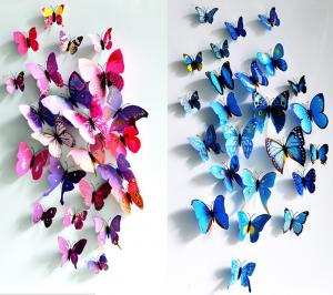 China Wonderful Art Design Decal Wall Sticker Home Decor Room Decorations 3D Butterfly on sale